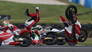 Miguel Oliveira of Portugal crashes out during the Moto3 race at the Australian MotoGP