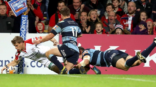 Andrew Trimble goes over for Ulster