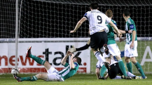 Dundalk's Patrick Hoban watches his side's opener head for the back of the Bray Wanderers net