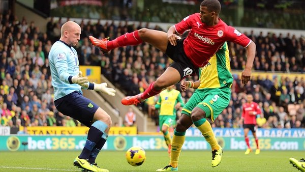 Norwich goalkeeper John Ruddy faces a high-flying Fraizer Campbell of Cardiff City