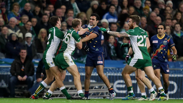 Ireland's Colm Begley, Michael Shields and Zach Tuohy argue with Australia's Lindsay Thomas