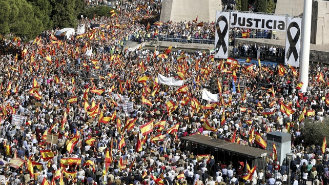 Tens of thousands of protesters attend a demonstration called by the Spanish Association of Terrorism Victims in Madrid