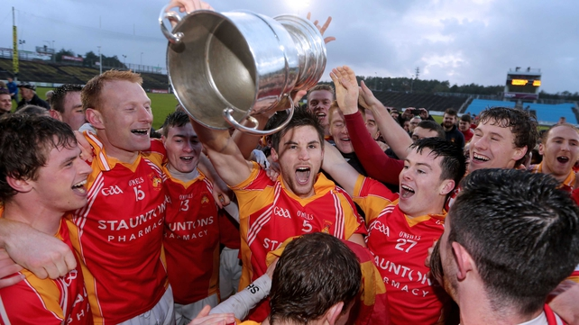 Castlebar's captain Donal Newcombe with the Moclair Cup