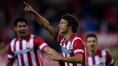 Oliver Torres celebrates scoring inside the first minute against Betis