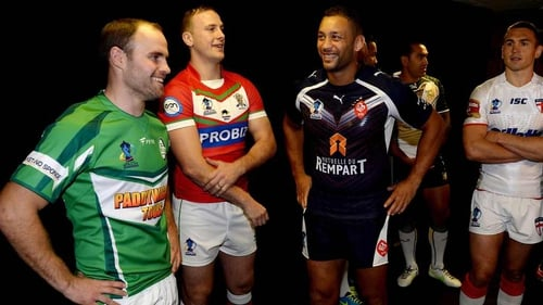 Liam Finn of Ireland, Craig Kopczak of Wales, Olivier Elima of France and Kevin Sinfield of England during the Rugby League World Cup launch
