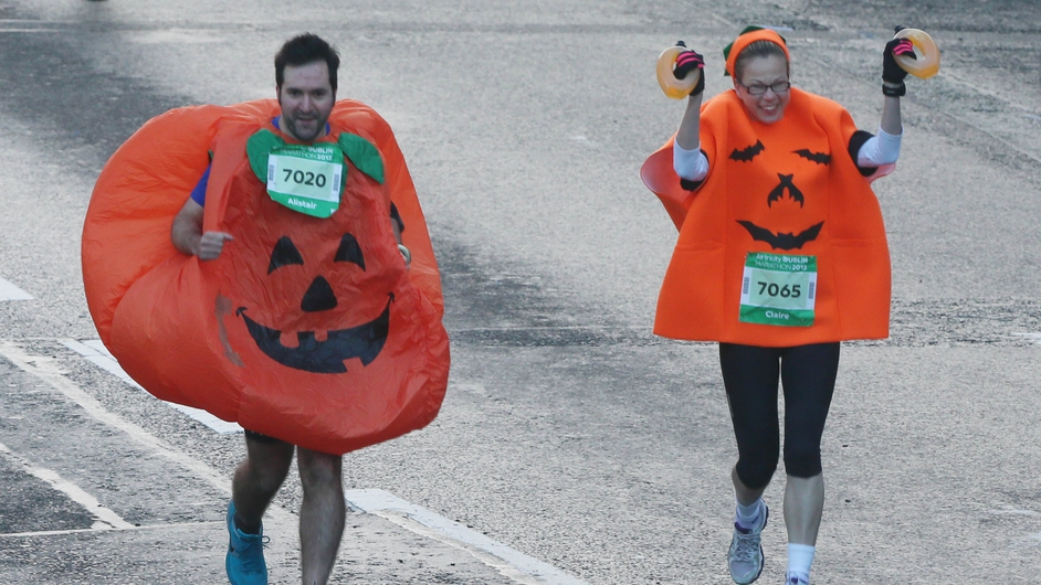 Runners in festive fancy dress were among those attempting the 26.2 mile course