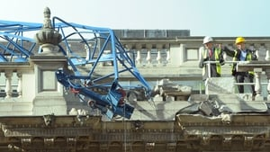 A crane crashed into the roof of a government building in Whitehall, London