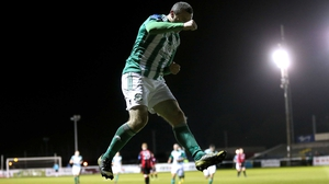 Jason Byrne of Bray Wanderers celebrates his second goal during their Airtricity League play-off with Longford Town