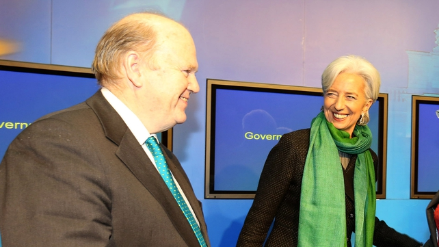 Michael Noonan and Christine Lagarde during the IMF MD's visit to Dublin in March