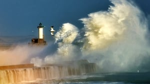 Large waves at the entrance of the port of Boulogne, northern France
