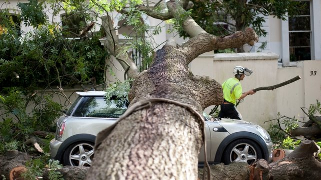 A contractor works on clearing the debris after a tree fell on a car during a storm in London