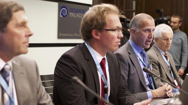John Goss, Sam Giezendanner, Evert van Zwol and Ted Murphy attend a press conference of the Ryanair Pilot Group
