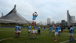 The New Zealand rugby team train at the Yoyogi Gymnasium in Tokyo
