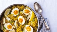 Kedgeree - This wonderful spiced rice and egg dish from colonial India makes for a rather different breakfast. Keep an eye out for undyed smoked haddock - many fishmongers and supermarkets now stock it and the flavour is far superior.