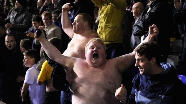 Stoke fans celebrate their side's victory