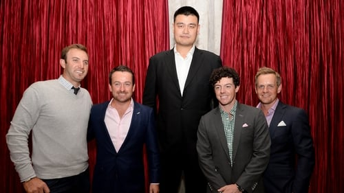 Chinese basketball star Yao Ming dwarfs golfers Dustin Johnson, Graeme McDowell, Rory McIlroy and Luke Donald