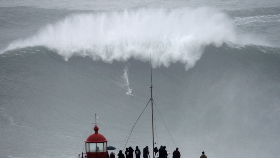 Brazilian big wave surfer Carlos Burle rides a wave in Nazare, central Portugal