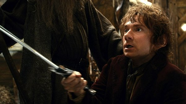 Bilbo brandishes trusty Sting as his courage grows