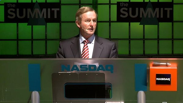 Taoiseach Enda Kenny opened the NASDAQ stock market live on stage at the Web Summit