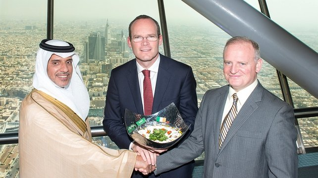 Al Wazeen chairman Saeed M Bajuwaiber, with Minister Simon Coveney and Irish Dairy Board CEO Kevin Lane in the  Kingdom Tower in Riyadh