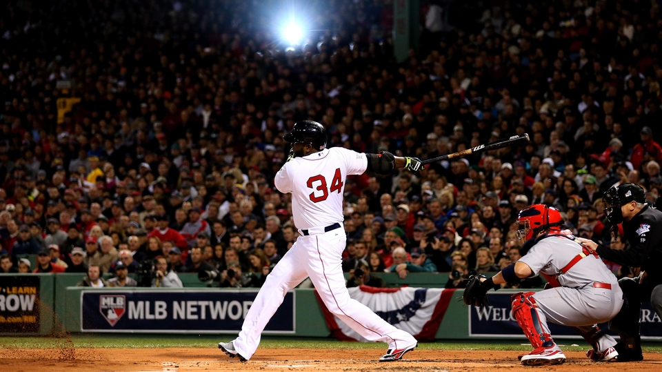 David Ortiz of the Boston Red Sox bats in the first inning against the St Louis Cardinals in World Series at Fenway Park