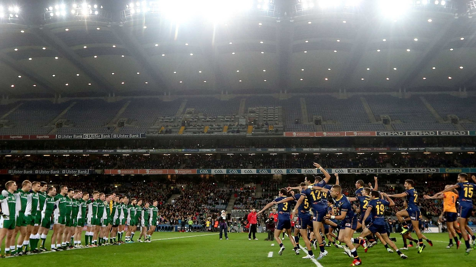 The Ireland team line up in front of Australia as they perform an Aboriginal War Dance before the second Test of the International Rules series at Croke Park