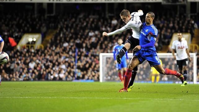 Tottenham Hotspur's Icelandic midfielder Gylfi Sigurdsson scores the opening goal