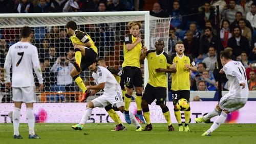 Gareth Bale scores from a freekick