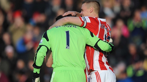 Stoke 'keeper Asmir Begovic is congratulated by team-mate Ryan Shawcross after scoring