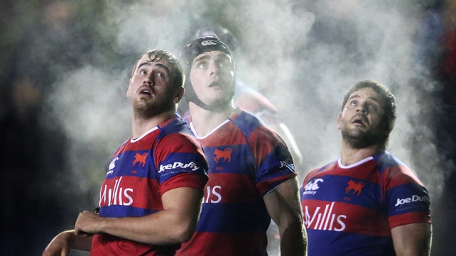 Clontarf's Ian Hirst, Simon Crawford and Cian Culleton during their match against St Mary's on Friday