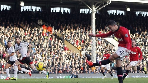 Robin van Persie drilled home United's second goal on 20 minutes