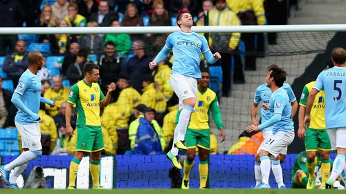 Matija Nastasic was on of seven different scorers for Manchester City
