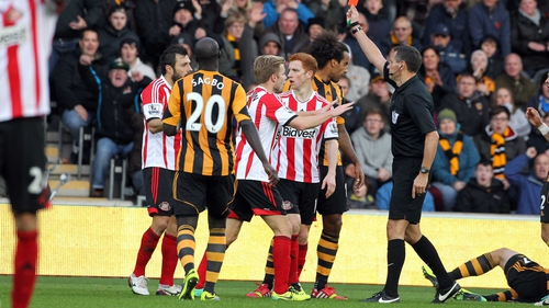 Sunderland's Andrea Dossena gets his marching orders