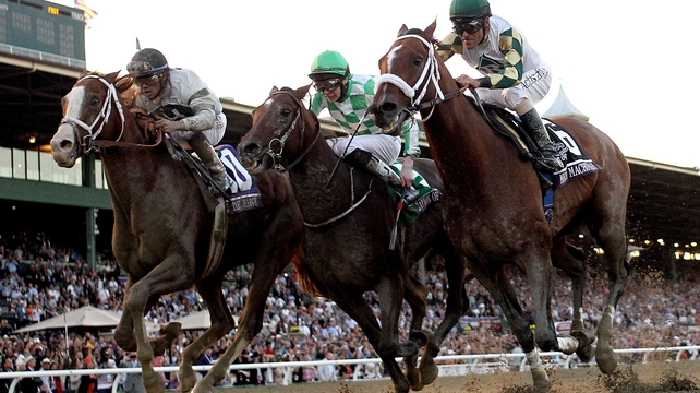 Mucho Macho Man (r) won the Breeders' Cup Classic