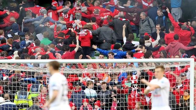 Sligo Rovers fans get into the Cup final spirit doing the Poznan