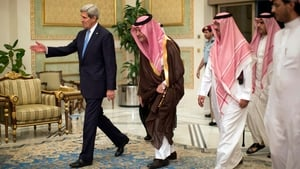US Secretary of State John Kerry is welcomed by Saudi Foreign Minister Prince Saud Al-Faisal bin Abdulaziz al-Saud (2nd-L) upon his arrival in Riyadh
