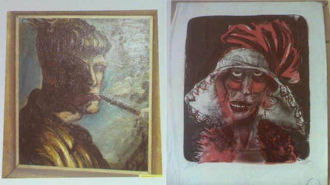 Two of the paintings found in the German apartment