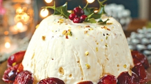 Christmas Ice Cream Cake with Nougat and Sticky Plums