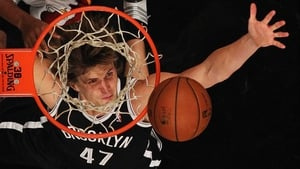 Andrei Kirilenko of the Brooklyn Nets reaches for the ball against the Miami Heat in the Brooklyn borough of New York City