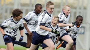 St. Martin De Porres players celebrate victory in the Allianz Cumann na mBunscol Football finals at Croke Park
