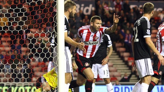 Phil Bardsley celebrates his opening goal