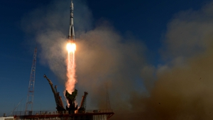A view of the Soyuz TMA-11M rocket that is carrying the Olympic torch
