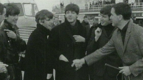 The Beatles at Dublin Airport with Frank Hall (1963)