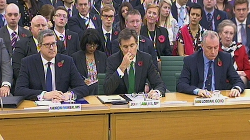 Andrew Parker, John Sawers and Iain Lobban appeared before a public session of the committee