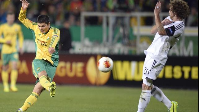Kuban's Russian midfielder Arsen Khubulov shoots