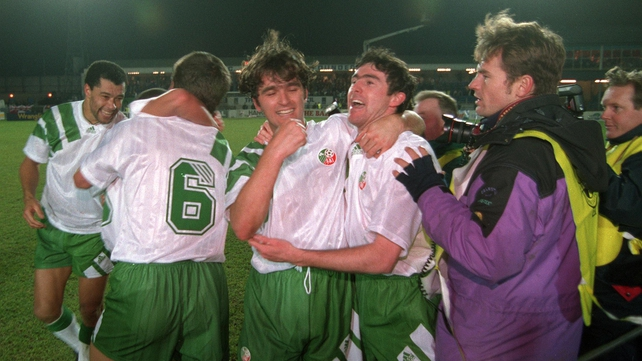 Irish players celebrate after securing World Cup qualification against Northern Ireland in 1993