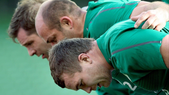Mike Ross, Rory Best and Jack McGrath (front) at the captain's run today