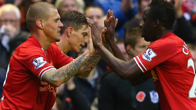 Martin Skrtel of Liverpool celebrates scoring the second goal