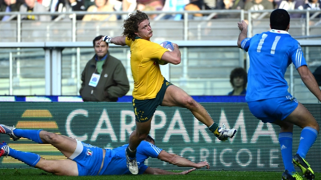 Nick Cummins of Australia scored a brace of tries for Australia