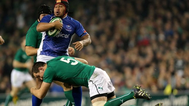 Samoa's Ole Avei tackled by Devin Toner of Ireland